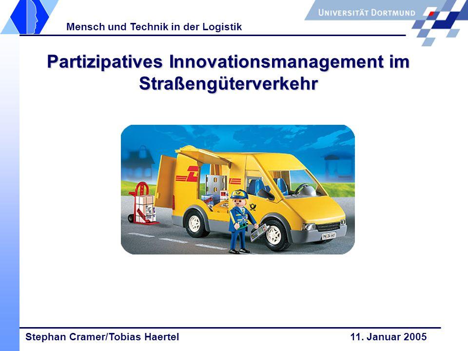 Stephan Cramer/Tobias Haertel 11. Januar 2005 Mensch und Technik in der Logistik Partizipatives Innovationsmanagement im Straßengüterverkehr