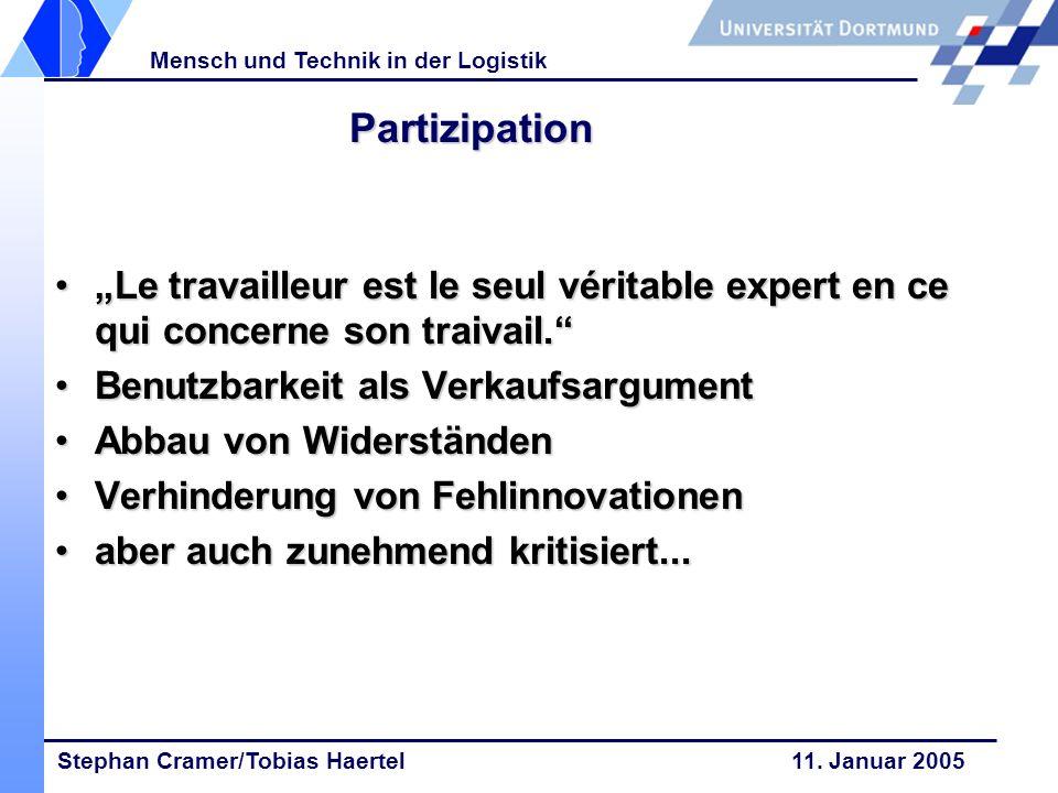 Stephan Cramer/Tobias Haertel 11. Januar 2005 Mensch und Technik in der Logistik Partizipation Le travailleur est le seul véritable expert en ce qui c