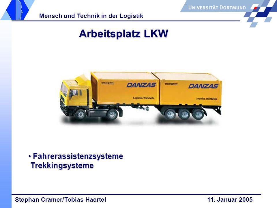 Stephan Cramer/Tobias Haertel 11. Januar 2005 Mensch und Technik in der Logistik Arbeitsplatz LKW Fahrerassistenzsysteme Trekkingsysteme Fahrerassiste