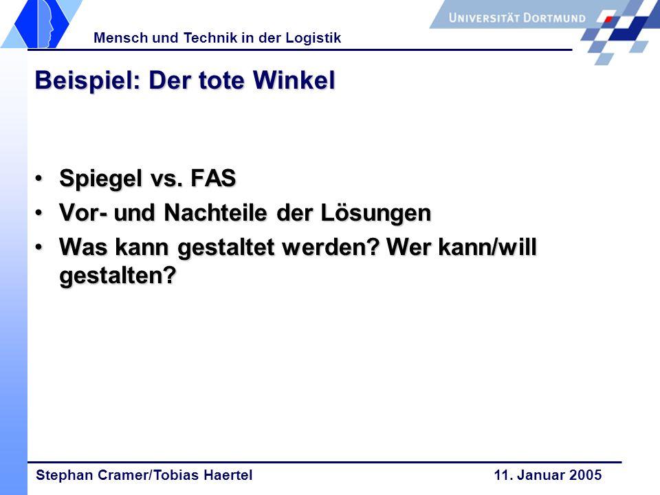 Stephan Cramer/Tobias Haertel 11. Januar 2005 Mensch und Technik in der Logistik Beispiel: Der tote Winkel Spiegel vs. FASSpiegel vs. FAS Vor- und Nac