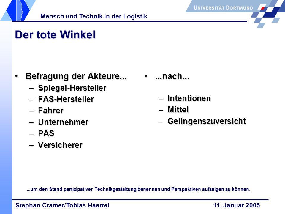 Stephan Cramer/Tobias Haertel 11. Januar 2005 Mensch und Technik in der Logistik Der tote Winkel Befragung der Akteure...Befragung der Akteure... –Spi
