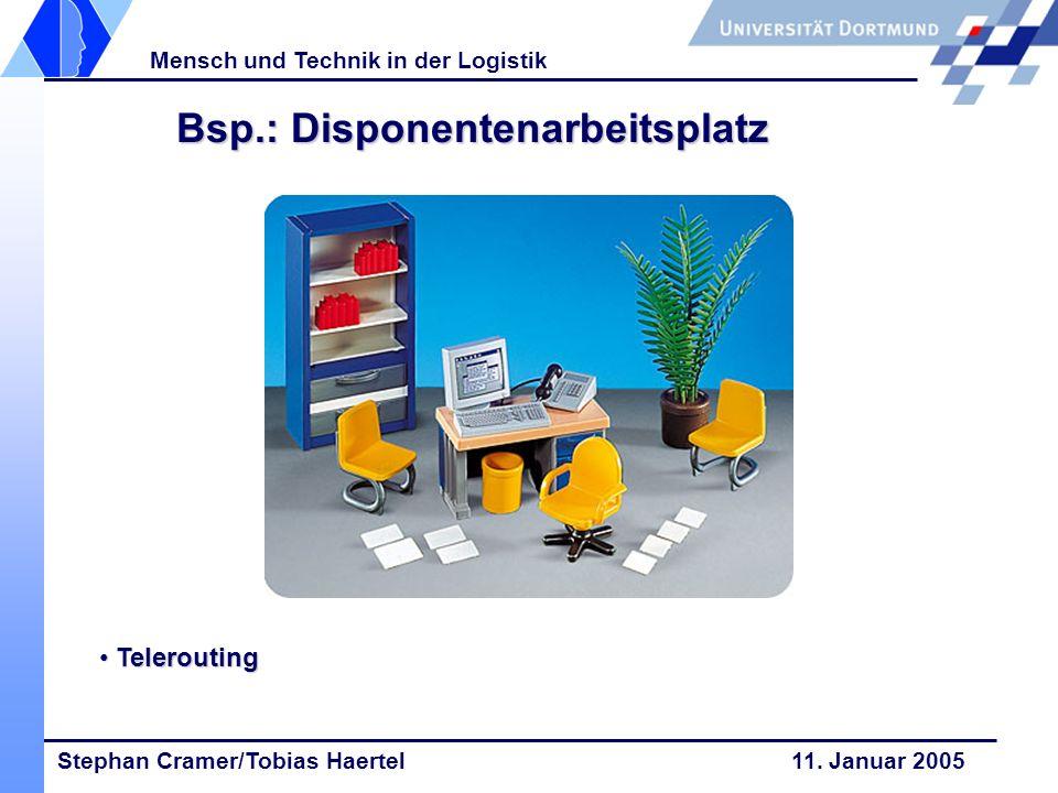 Stephan Cramer/Tobias Haertel 11. Januar 2005 Mensch und Technik in der Logistik Bsp.: Disponentenarbeitsplatz Telerouting Telerouting