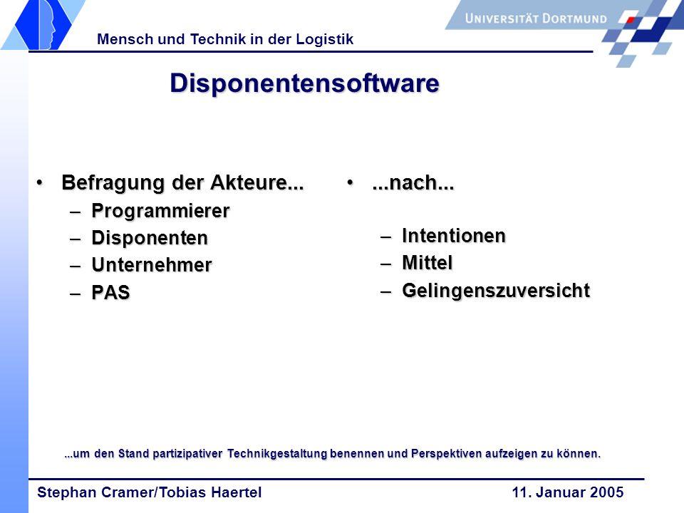 Stephan Cramer/Tobias Haertel 11. Januar 2005 Mensch und Technik in der Logistik Disponentensoftware Befragung der Akteure...Befragung der Akteure...