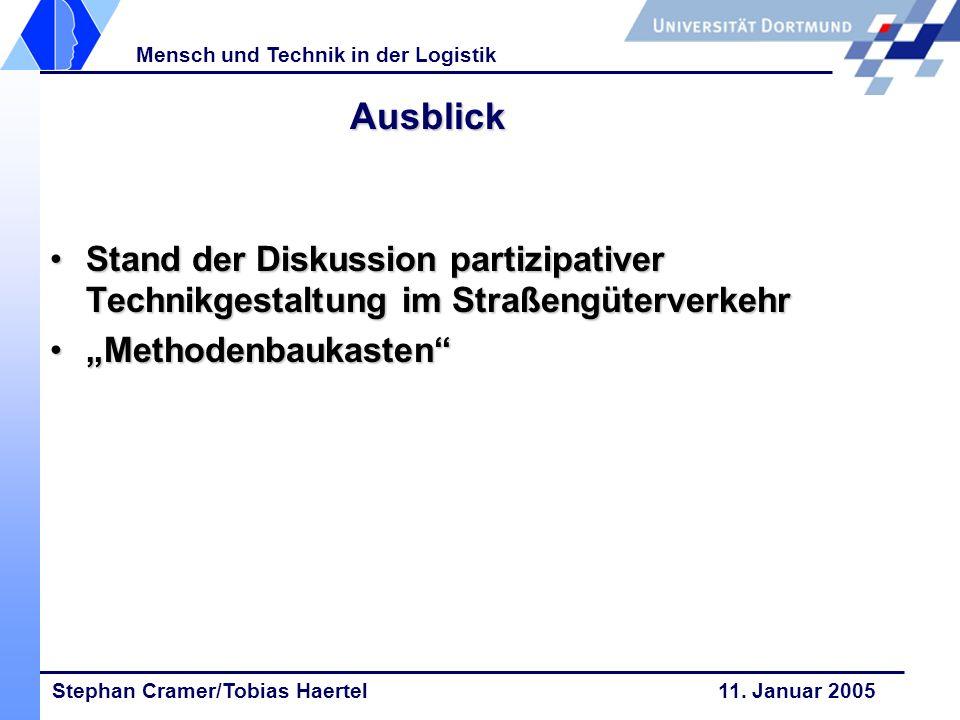 Stephan Cramer/Tobias Haertel 11. Januar 2005 Mensch und Technik in der Logistik Ausblick Stand der Diskussion partizipativer Technikgestaltung im Str