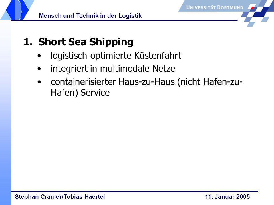 Stephan Cramer/Tobias Haertel 11. Januar 2005 Mensch und Technik in der Logistik 1. Short Sea Shipping logistisch optimierte Küstenfahrt integriert in