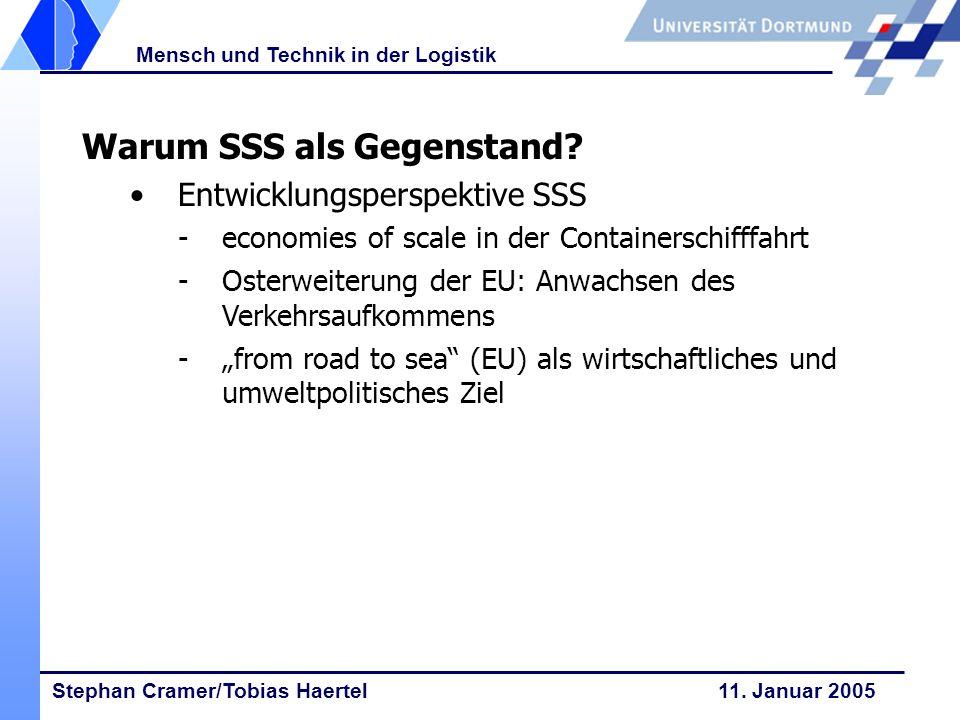 Stephan Cramer/Tobias Haertel 11. Januar 2005 Mensch und Technik in der Logistik Warum SSS als Gegenstand? Entwicklungsperspektive SSS -economies of s