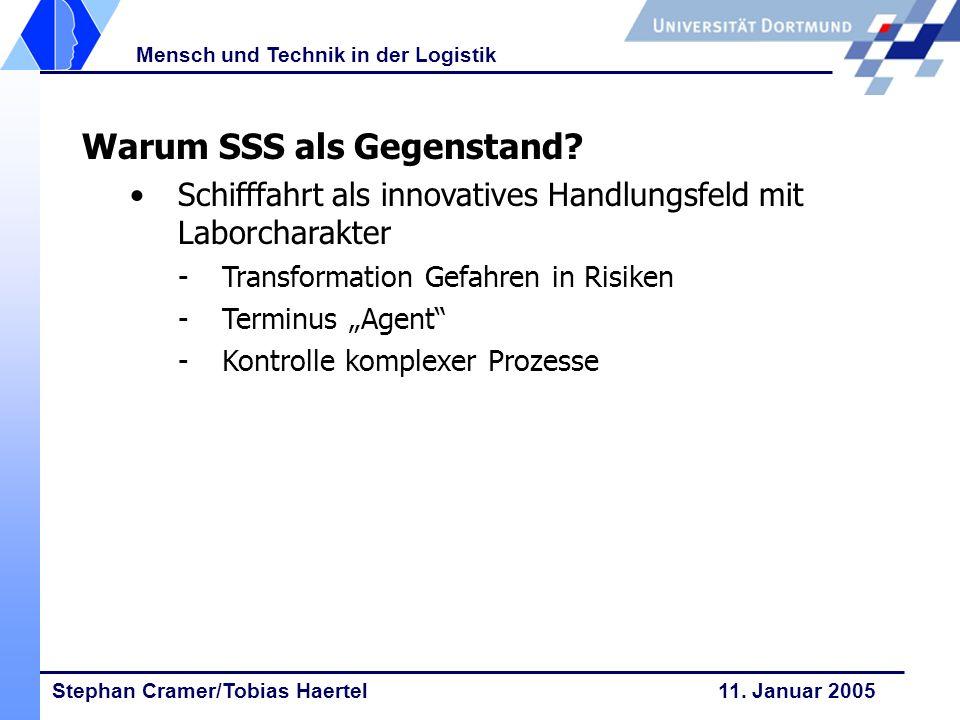 Stephan Cramer/Tobias Haertel 11. Januar 2005 Mensch und Technik in der Logistik Warum SSS als Gegenstand? Schifffahrt als innovatives Handlungsfeld m