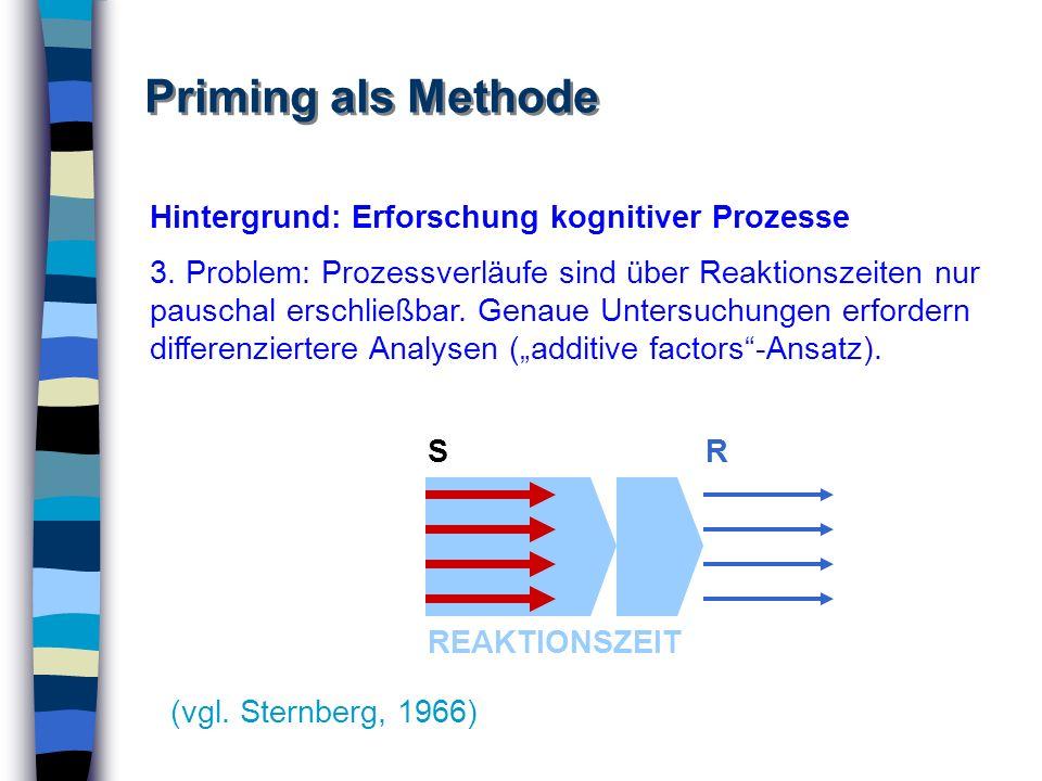 Priming als Methode Hintergrund: Erforschung kognitiver Prozesse 3. Problem: Prozessverläufe sind über Reaktionszeiten nur pauschal erschließbar. Gena