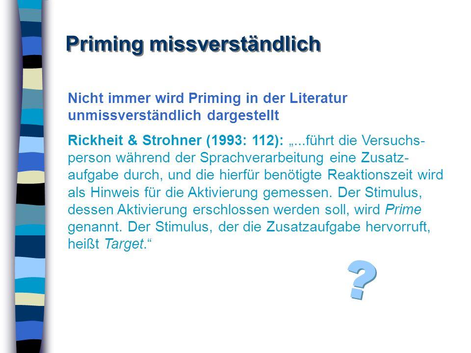 Priming missverständlich Nicht immer wird Priming in der Literatur unmissverständlich dargestellt Rickheit & Strohner (1993: 112):...führt die Versuch