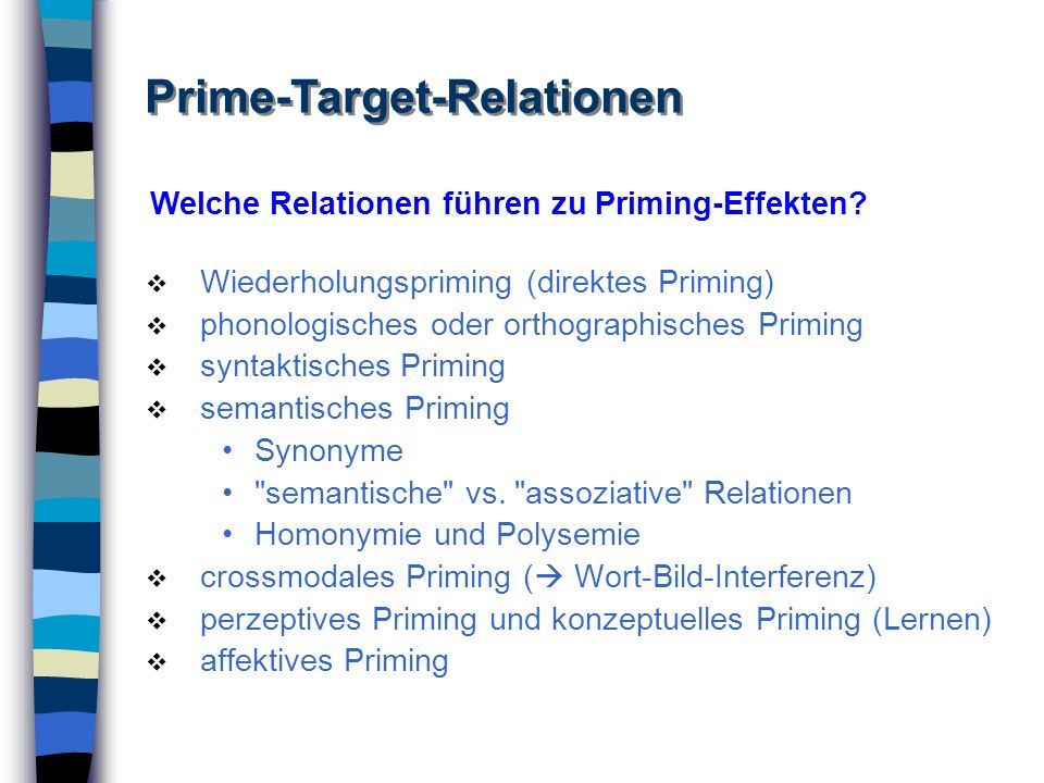 Wiederholungspriming (direktes Priming) phonologisches oder orthographisches Priming syntaktisches Priming semantisches Priming Synonyme