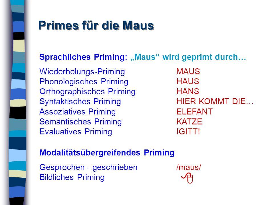 Primes für die Maus Sprachliches Priming: Maus wird geprimt durch… Wiederholungs-PrimingMAUS Phonologisches PrimingHAUS Orthographisches PrimingHANS S