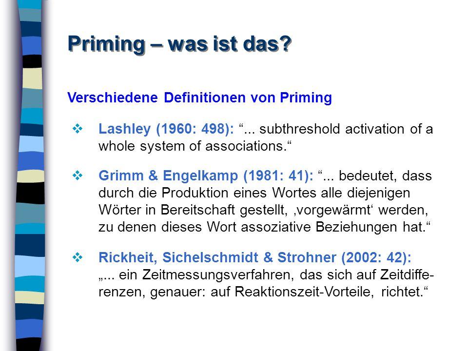 Priming – was ist das? Verschiedene Definitionen von Priming Lashley (1960: 498):... subthreshold activation of a whole system of associations. Rickhe