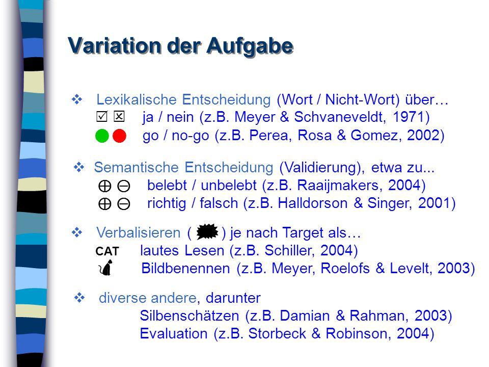 Variation der Aufgabe Lexikalische Entscheidung (Wort / Nicht-Wort) über… ja / nein (z.B. Meyer & Schvaneveldt, 1971) go / no-go (z.B. Perea, Rosa & G