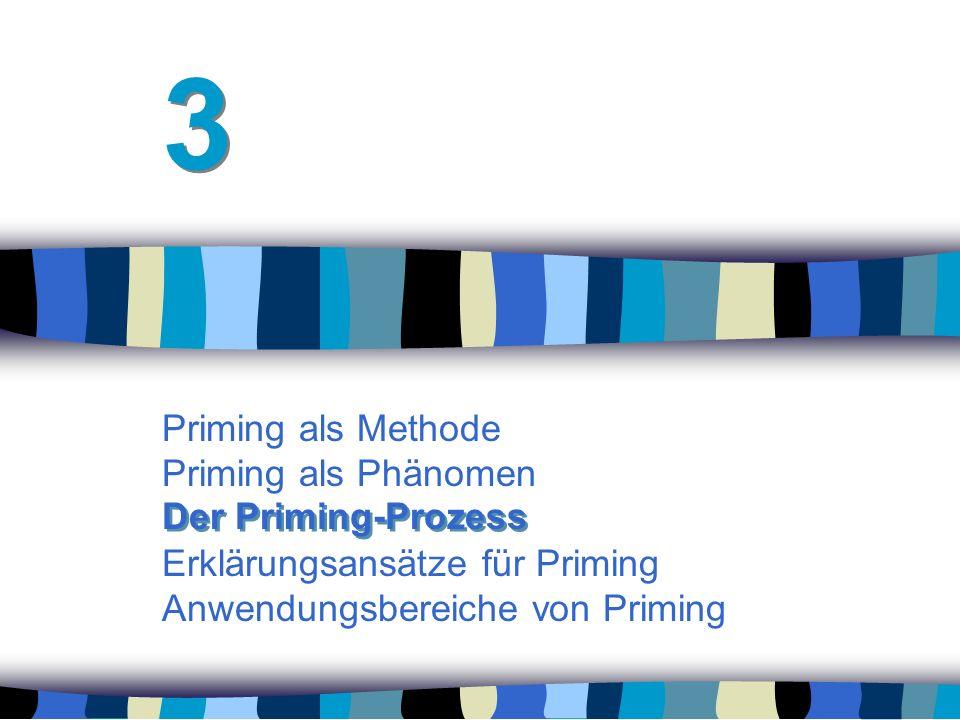Priming als Methode Priming als Phänomen Erklärungsansätze für Priming Anwendungsbereiche von Priming 3 3 Der Priming-Prozess