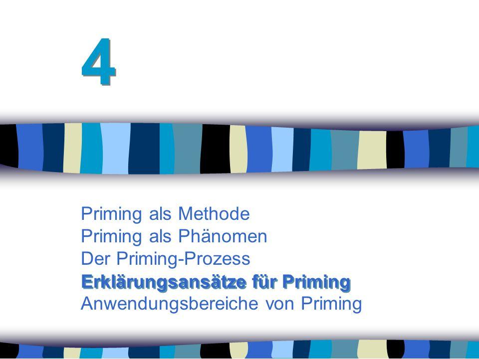 Priming als Methode Priming als Phänomen Der Priming-Prozess Anwendungsbereiche von Priming 4 4 Erklärungsansätze für Priming