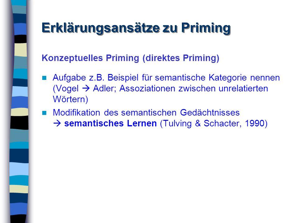 Konzeptuelles Priming (direktes Priming) Aufgabe z.B. Beispiel für semantische Kategorie nennen (Vogel Adler; Assoziationen zwischen unrelatierten Wör