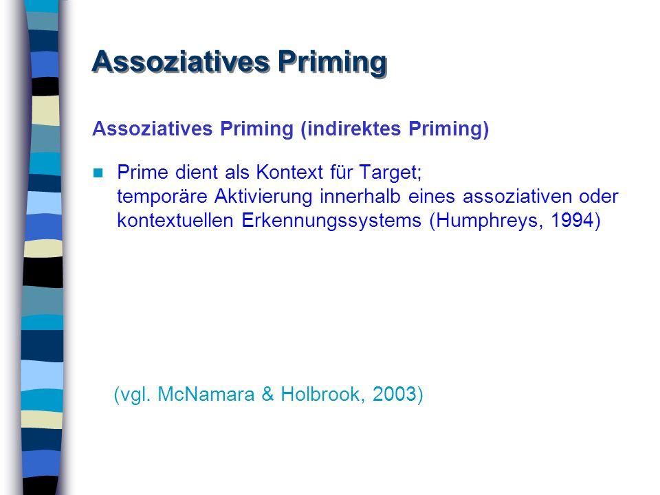 Assoziatives Priming (indirektes Priming) Prime dient als Kontext für Target; temporäre Aktivierung innerhalb eines assoziativen oder kontextuellen Er