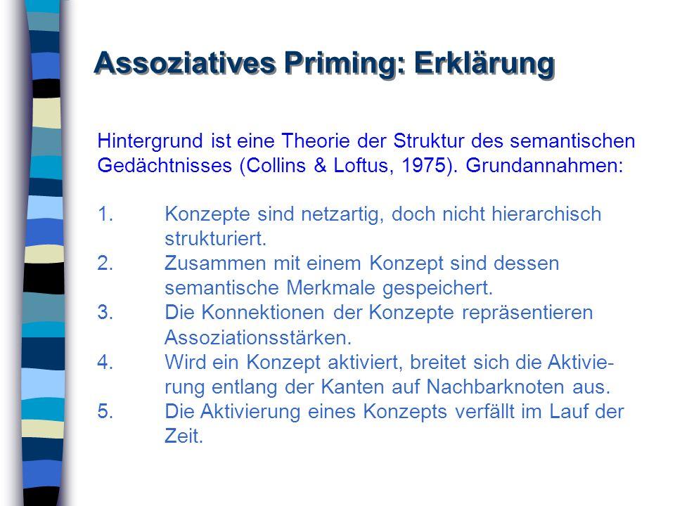 Assoziatives Priming: Erklärung 1.Konzepte sind netzartig, doch nicht hierarchisch strukturiert. 2. Zusammen mit einem Konzept sind dessen semantische