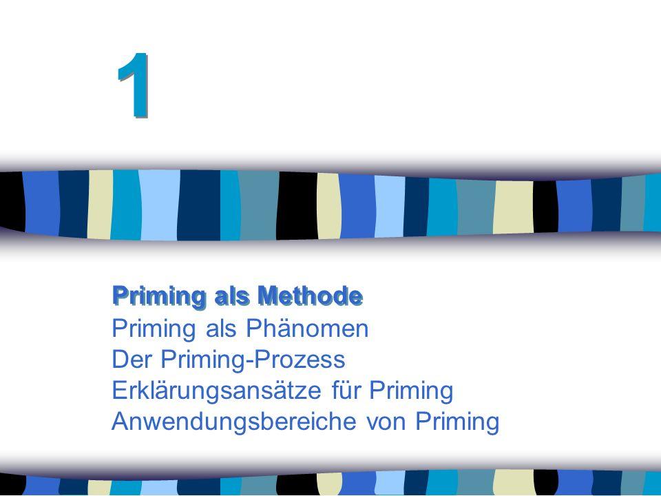 Priming als Phänomen Der Priming-Prozess Erklärungsansätze für Priming Anwendungsbereiche von Priming 1 1 Priming als Methode