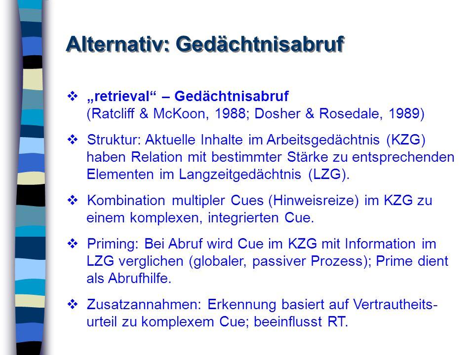 Alternativ: Gedächtnisabruf retrieval – Gedächtnisabruf (Ratcliff & McKoon, 1988; Dosher & Rosedale, 1989) Struktur: Aktuelle Inhalte im Arbeitsgedäch