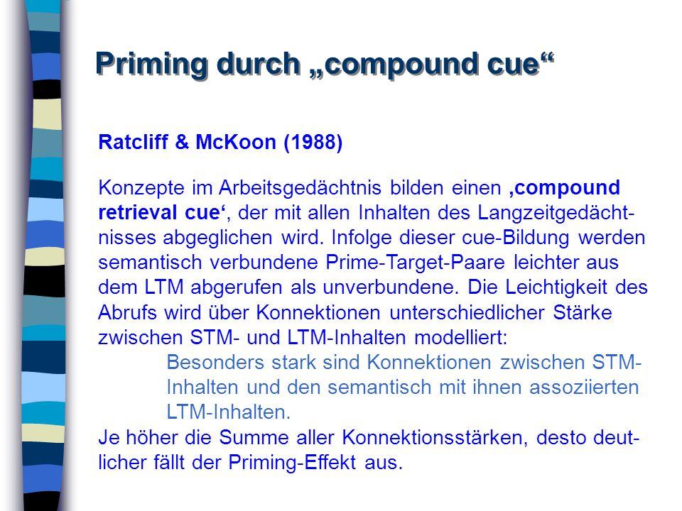 Priming durch compound cue Ratcliff & McKoon (1988) Konzepte im Arbeitsgedächtnis bilden einen compound retrieval cue, der mit allen Inhalten des Lang
