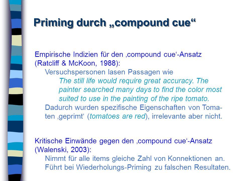 Priming durch compound cue Kritische Einwände gegen den compound cue-Ansatz (Walenski, 2003): Nimmt für alle items gleiche Zahl von Konnektionen an. F