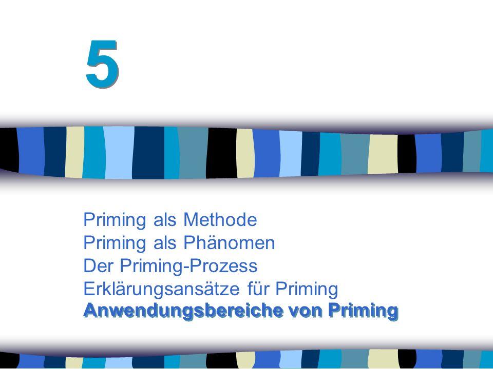 Priming als Methode Priming als Phänomen Der Priming-Prozess Erklärungsansätze für Priming 5 5 Anwendungsbereiche von Priming