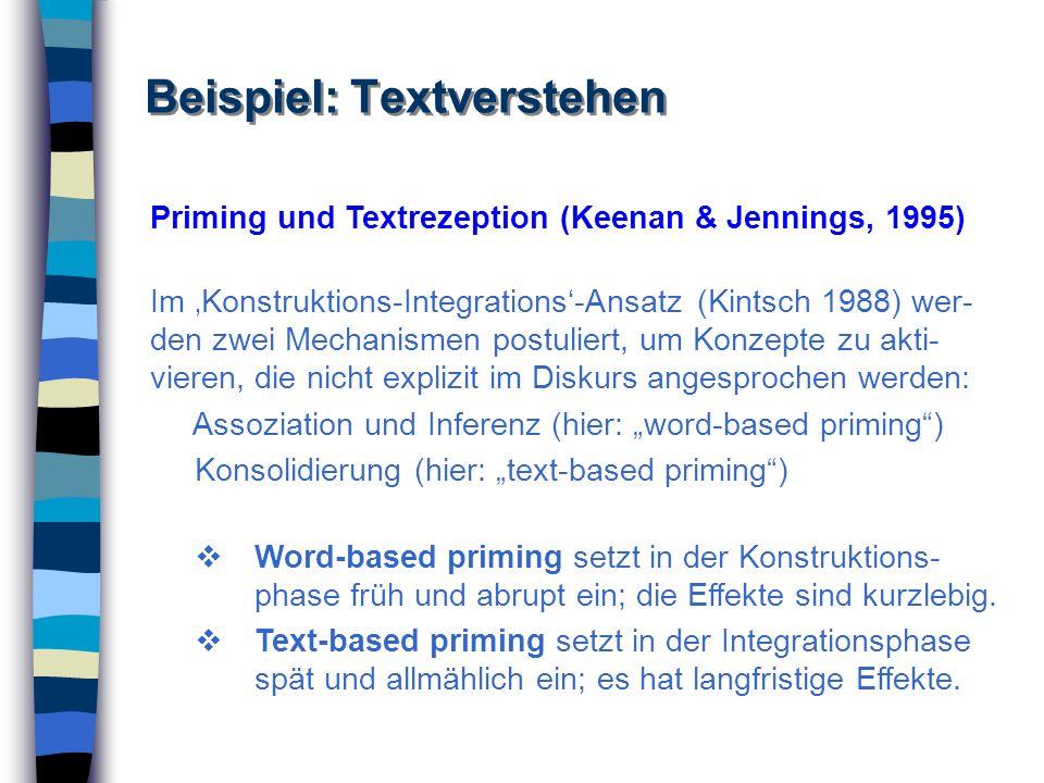 Beispiel: Textverstehen Priming und Textrezeption (Keenan & Jennings, 1995) Im Konstruktions-Integrations-Ansatz (Kintsch 1988) wer- den zwei Mechanis