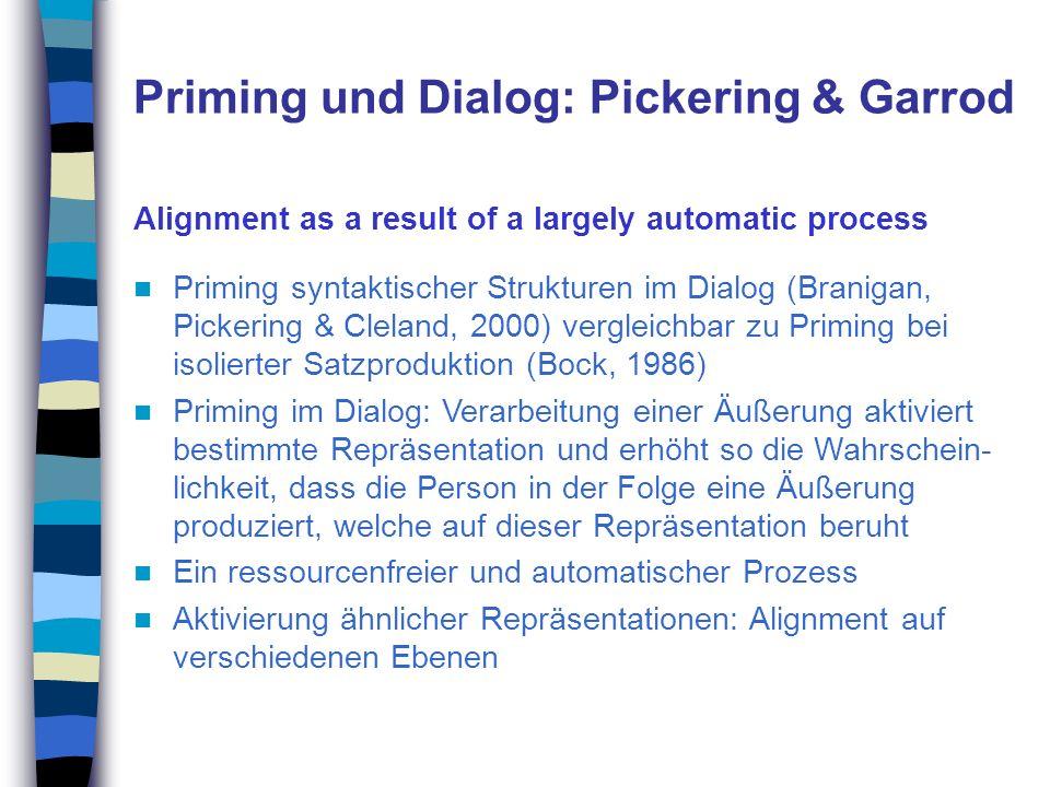 Priming und Dialog: Pickering & Garrod Alignment as a result of a largely automatic process Priming syntaktischer Strukturen im Dialog (Branigan, Pick