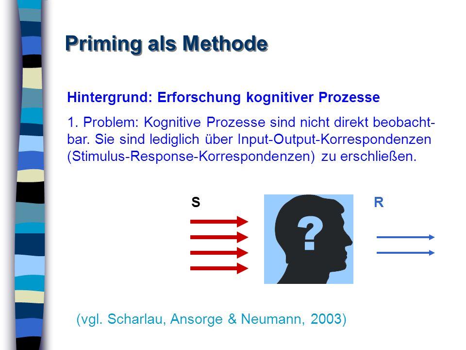Priming als Methode Hintergrund: Erforschung kognitiver Prozesse 1. Problem: Kognitive Prozesse sind nicht direkt beobacht- bar. Sie sind lediglich üb