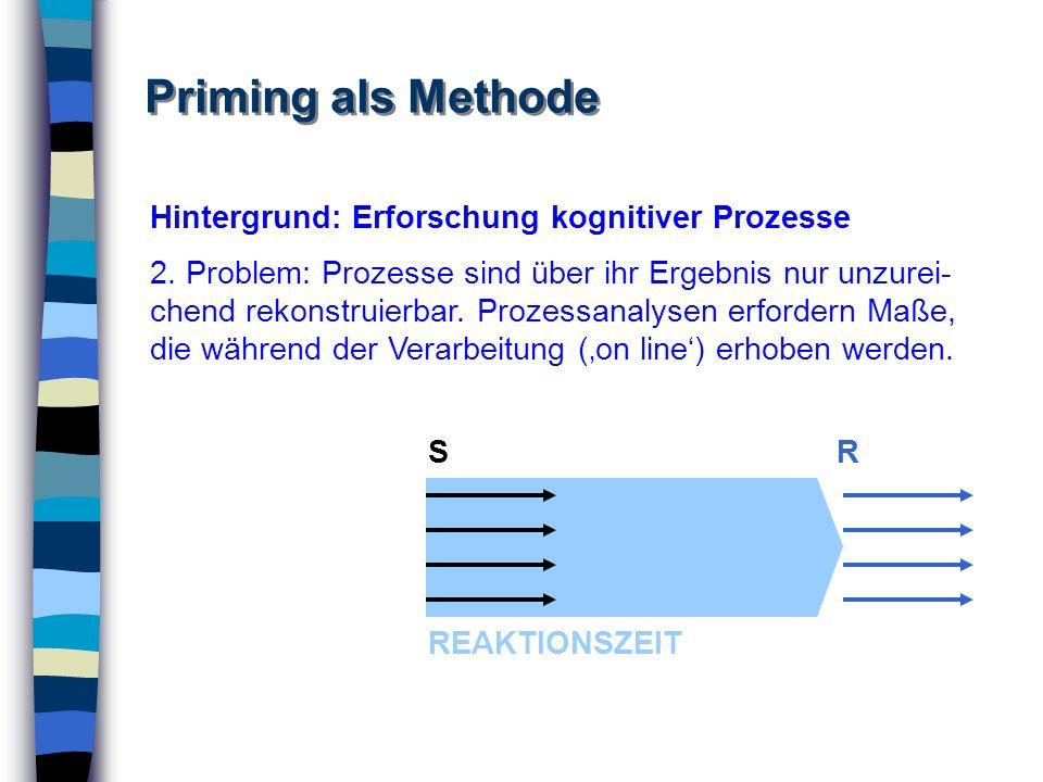 Priming als Methode Hintergrund: Erforschung kognitiver Prozesse 2. Problem: Prozesse sind über ihr Ergebnis nur unzurei- chend rekonstruierbar. Proze