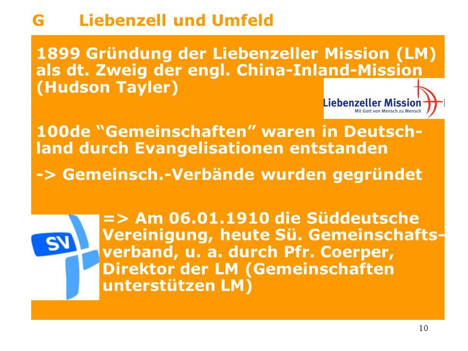 10 GLiebenzell und Umfeld 1899 Gründung der Liebenzeller Mission (LM) als dt. Zweig der engl. China-Inland-Mission (Hudson Tayler) 100de Gemeinschafte