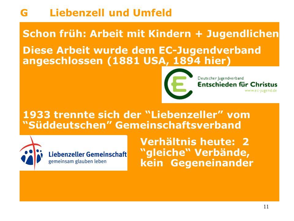 11 GLiebenzell und Umfeld Schon früh: Arbeit mit Kindern + Jugendlichen Diese Arbeit wurde dem EC-Jugendverband angeschlossen (1881 USA, 1894 hier) 19