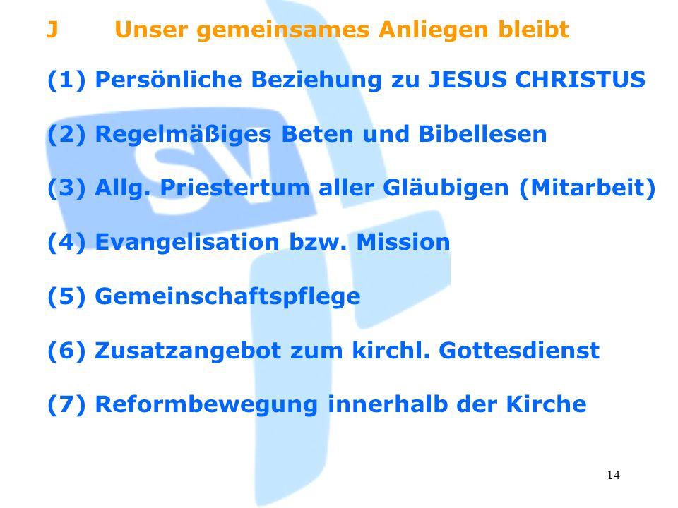 14 (1) Persönliche Beziehung zu JESUS CHRISTUS (2) Regelmäßiges Beten und Bibellesen (3) Allg. Priestertum aller Gläubigen (Mitarbeit) (4) Evangelisat