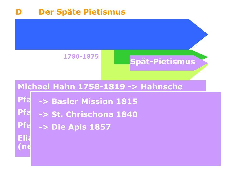 6 DDer Späte Pietismus Spät-Pietismus 1780-1875 Michael Hahn 1758-1819 -> Hahnsche Pfarrer Ludwig Hofacker 1798-1827 Pfarrer Johann Christoph Blumhard