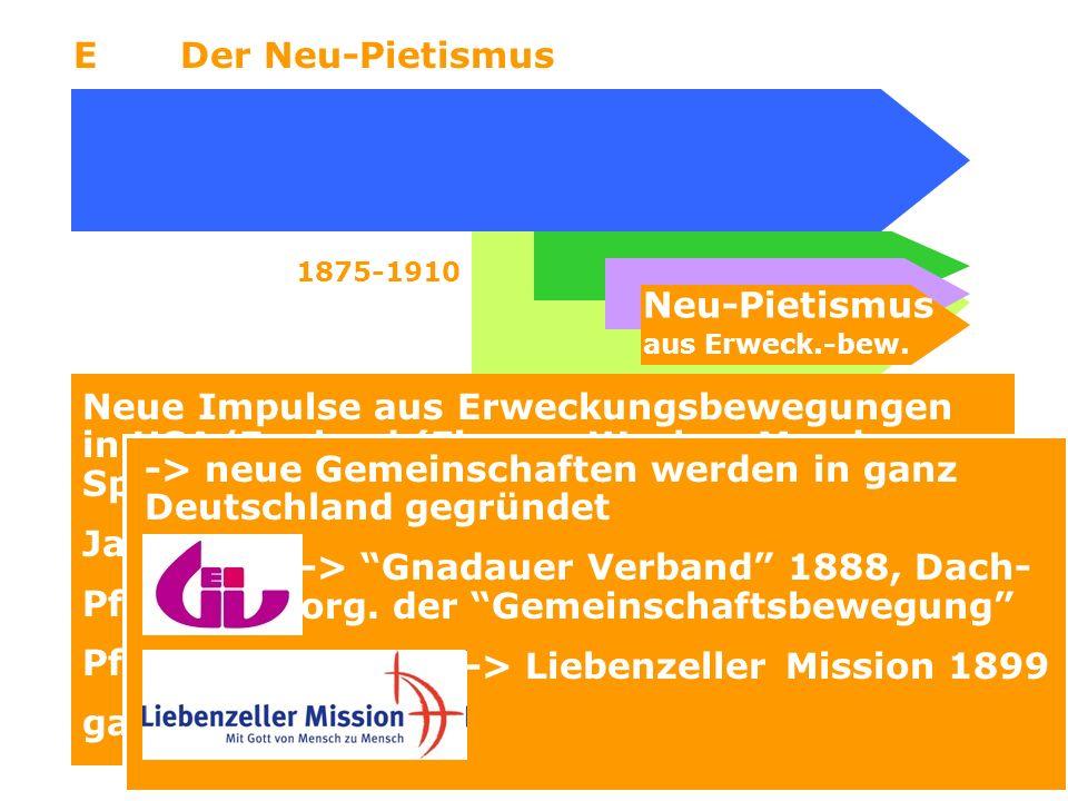 7 EDer Neu-Pietismus Neu-Pietismus aus Erweck.-bew. 1875-1910 Neue Impulse aus Erweckungsbewegungen in USA/England (Finney, Wesley, Moody, Spurgeon) J