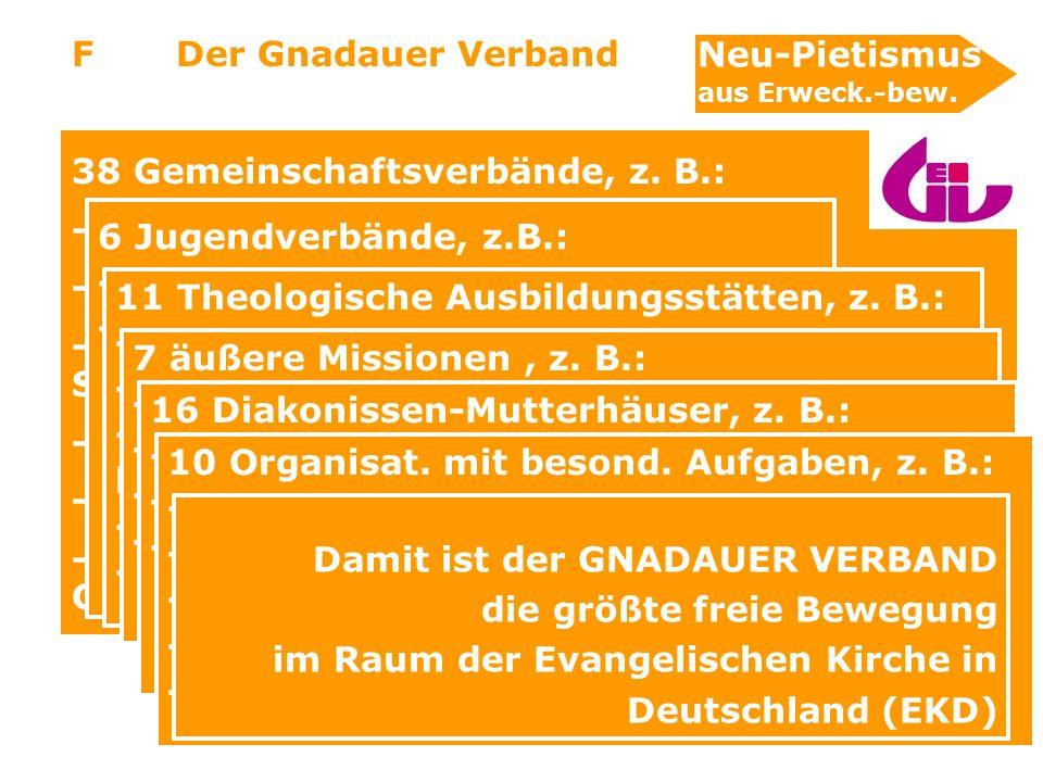 9 38 Gemeinschaftsverbände, z. B.: - Chrischona-Gesellschaft - Evangelische Gesellschaft f. BRD - Ev. Gem.-verband Herborn, Nord-Süd, Siegerland (Hess