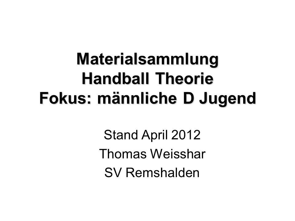 Handball Nachwuchs Förderung 2009 Deutscher Handball Bund Rahmen-Trainings-Konzeption (RTK) Auszüge aus Trainingsstufen 1+2 Basisschulung: vielseitige motorische Grundausbildung im Kinderhandball im Alter bis zu 12 Jahren (E+D Jugend) + individuelles Grundlagentraining 13-14 Jahre (C Jugend)