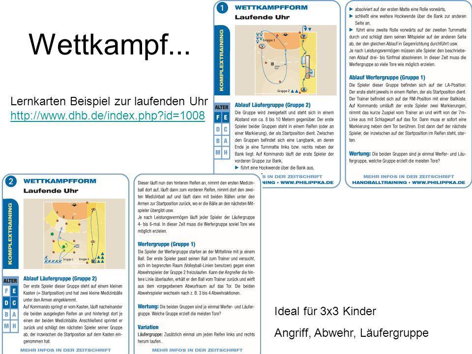 Wettkampf... Lernkarten Beispiel zur laufenden Uhr http://www.dhb.de/index.php?id=1008 http://www.dhb.de/index.php?id=1008 Ideal für 3x3 Kinder Angrif