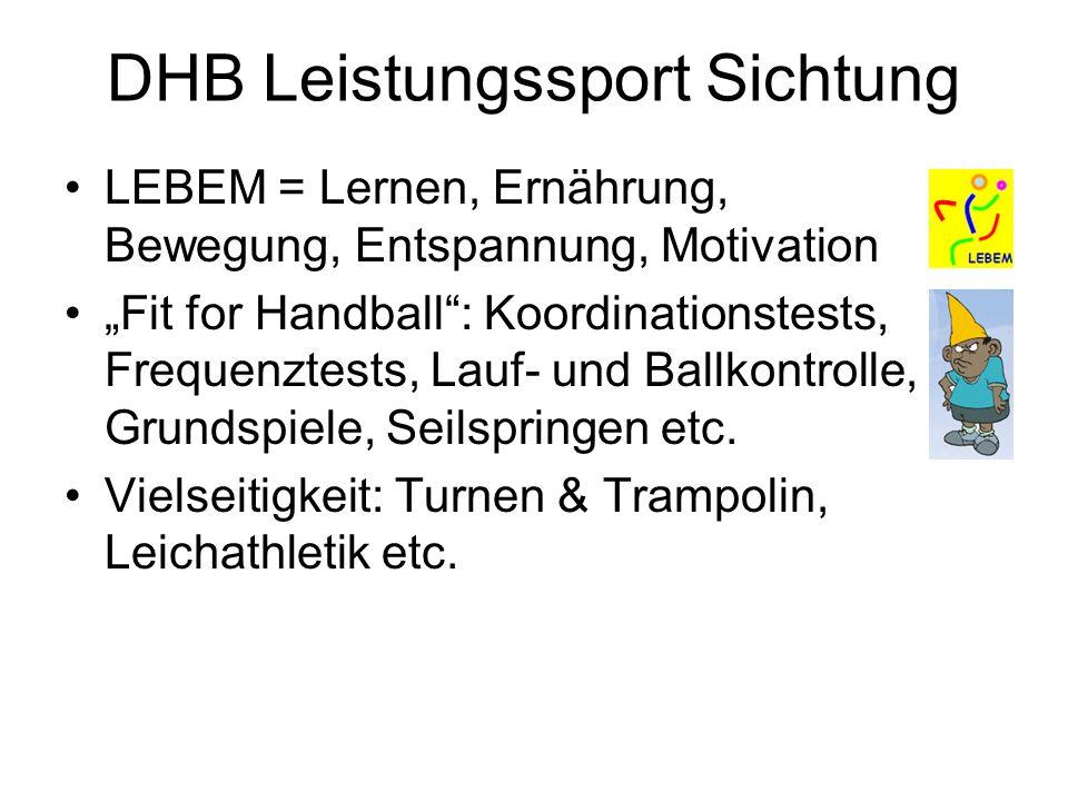 DHB Leistungssport Sichtung LEBEM = Lernen, Ernährung, Bewegung, Entspannung, Motivation Fit for Handball: Koordinationstests, Frequenztests, Lauf- un