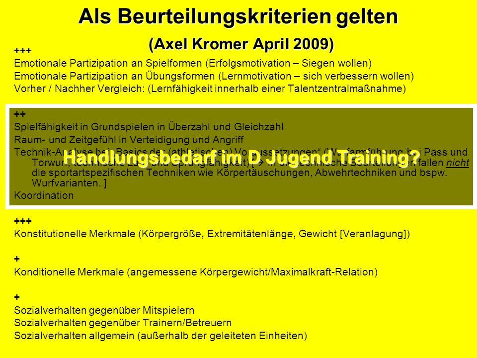 Als Beurteilungskriterien gelten (Axel Kromer April 2009) +++ Emotionale Partizipation an Spielformen (Erfolgsmotivation – Siegen wollen) Emotionale P