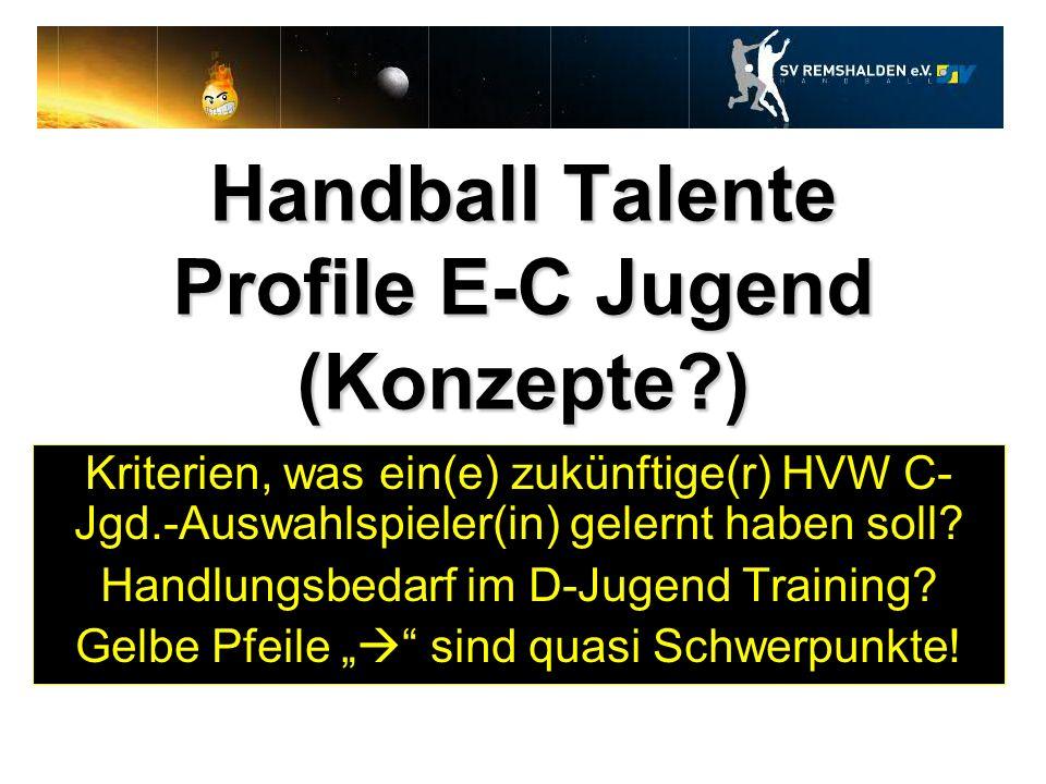 Handball Talente Profile E-C Jugend (Konzepte?) Kriterien, was ein(e) zukünftige(r) HVW C- Jgd.-Auswahlspieler(in) gelernt haben soll? Handlungsbedarf