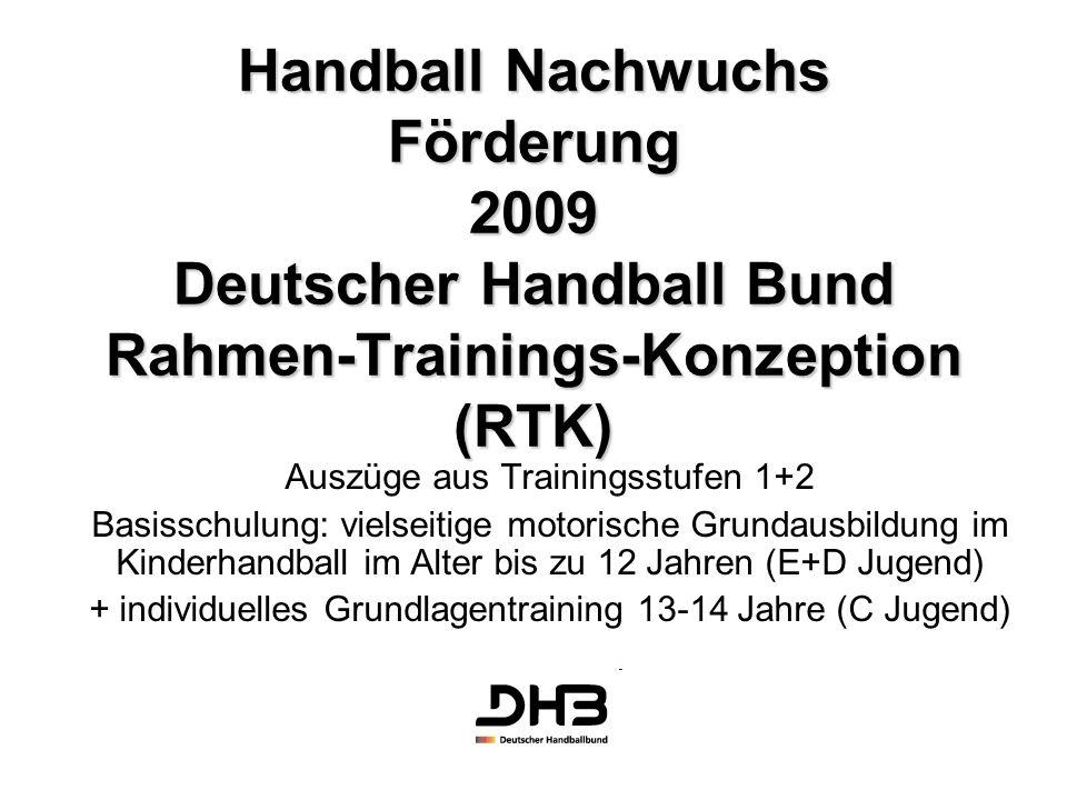 Handball Nachwuchs Förderung 2009 Deutscher Handball Bund Rahmen-Trainings-Konzeption (RTK) Auszüge aus Trainingsstufen 1+2 Basisschulung: vielseitige