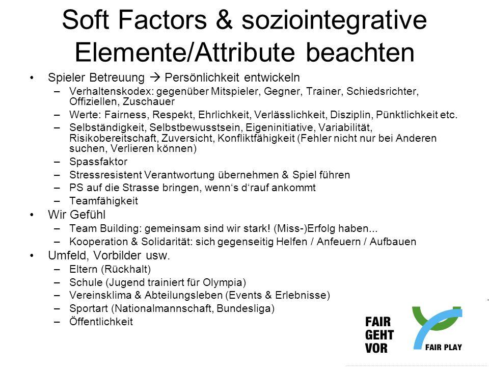 Soft Factors & soziointegrative Elemente/Attribute beachten Spieler Betreuung Persönlichkeit entwickeln –Verhaltenskodex: gegenüber Mitspieler, Gegner