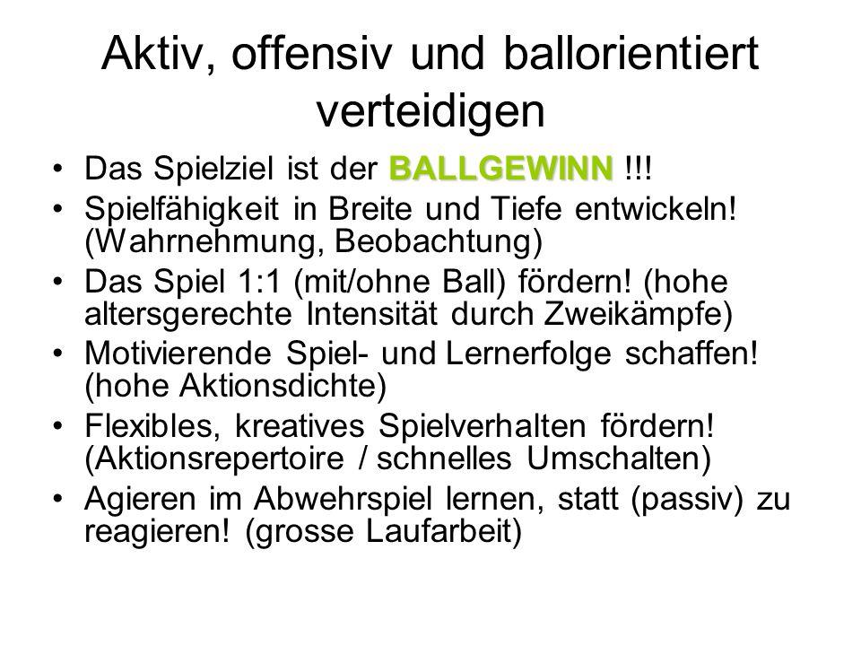 Aktiv, offensiv und ballorientiert verteidigen BALLGEWINNDas Spielziel ist der BALLGEWINN !!! Spielfähigkeit in Breite und Tiefe entwickeln! (Wahrnehm