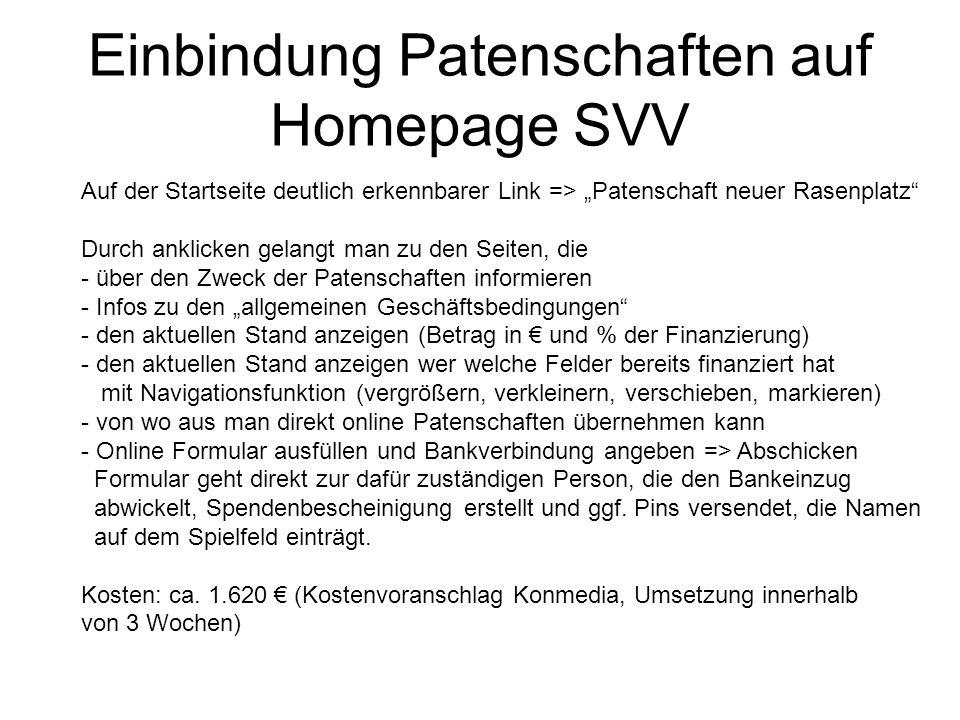 Einbindung Patenschaften auf Homepage SVV Auf der Startseite deutlich erkennbarer Link => Patenschaft neuer Rasenplatz Durch anklicken gelangt man zu