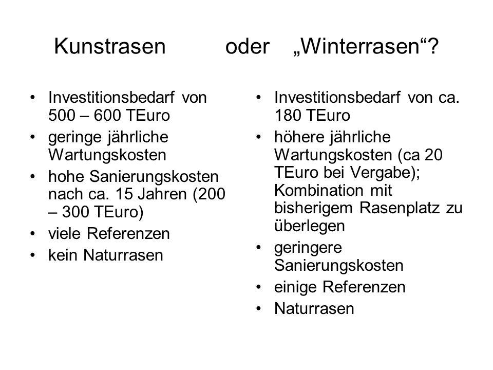 Kunstrasen oder Winterrasen? Investitionsbedarf von 500 – 600 TEuro geringe jährliche Wartungskosten hohe Sanierungskosten nach ca. 15 Jahren (200 – 3
