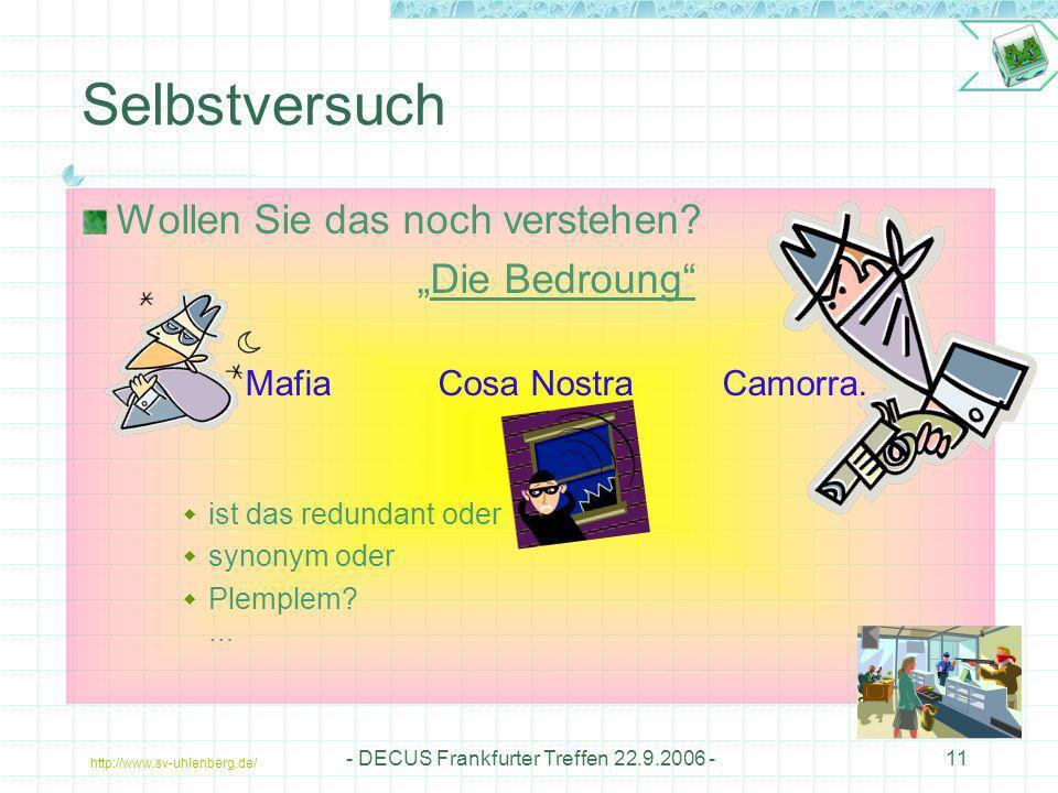 http://www.sv-uhlenberg.de/ - DECUS Frankfurter Treffen 22.9.2006 -11 Selbstversuch Wollen Sie das noch verstehen? Die Bedroung Mafia Cosa Nostra Camo