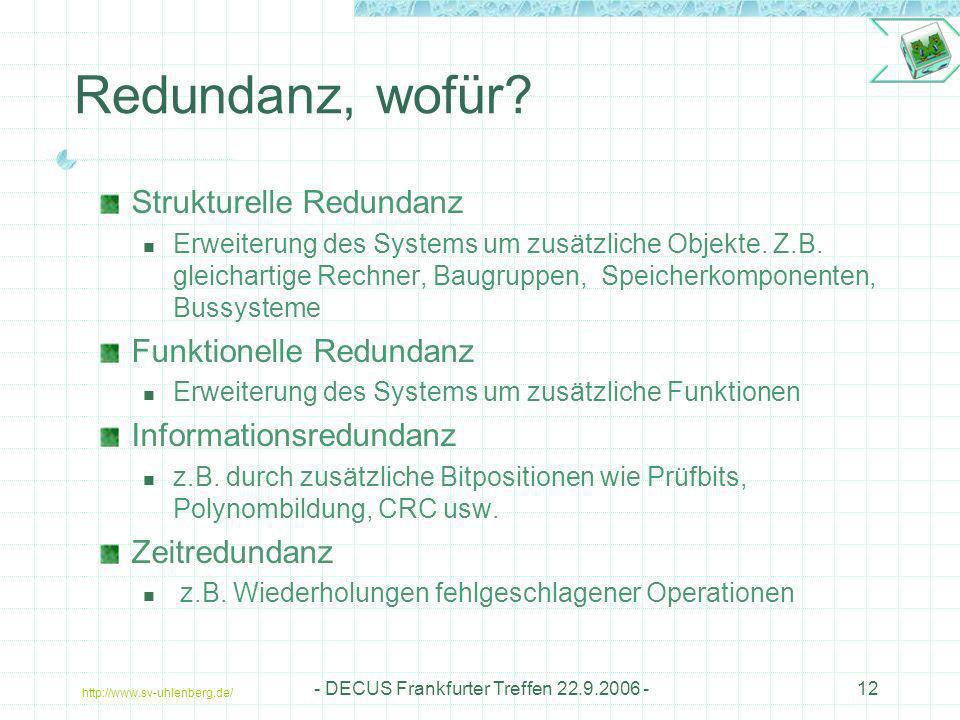 http://www.sv-uhlenberg.de/ - DECUS Frankfurter Treffen 22.9.2006 -12 Redundanz, wofür? Strukturelle Redundanz Erweiterung des Systems um zusätzliche