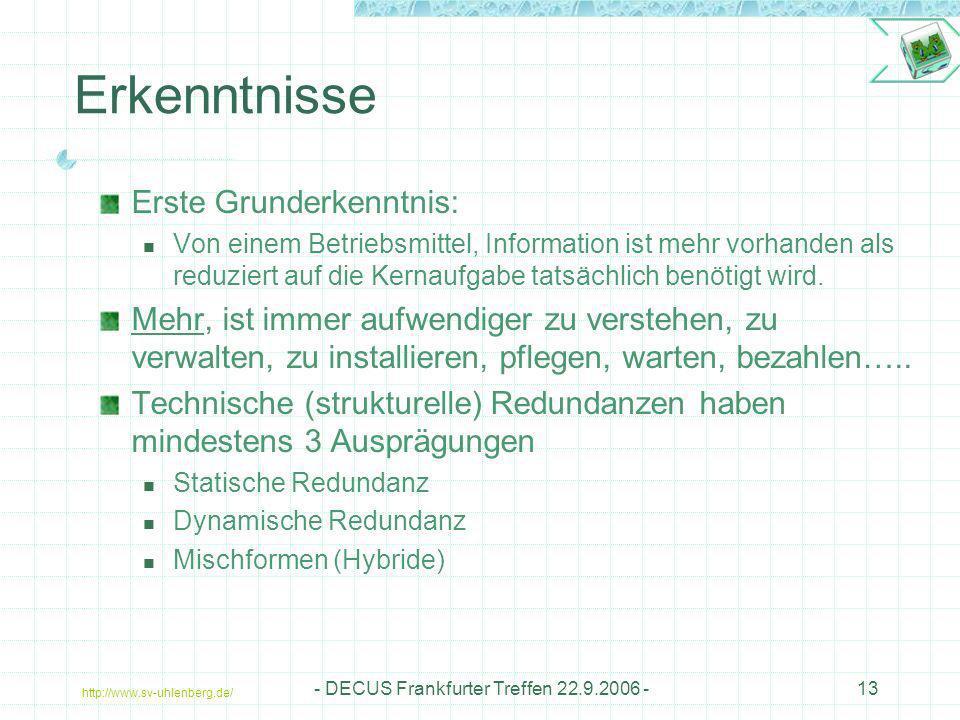 http://www.sv-uhlenberg.de/ - DECUS Frankfurter Treffen 22.9.2006 -13 Erkenntnisse Erste Grunderkenntnis: Von einem Betriebsmittel, Information ist me